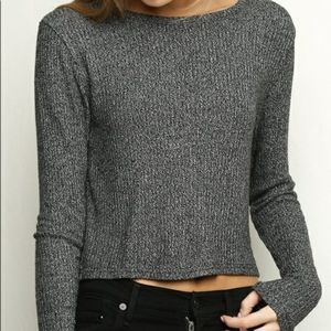Brandy Melville Gray Ribbed Top One Size XS Small